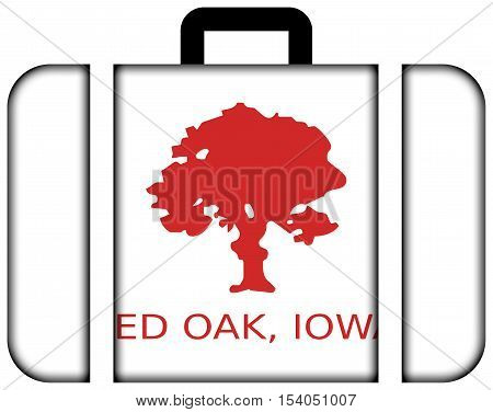 Flag Of Red Oak, Iowa, Usa. Suitcase Icon, Travel And Transportation Concept