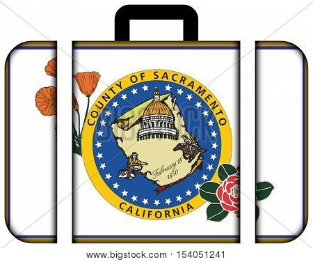 Flag Of Sacramento County, California, Usa. Suitcase Icon, Travel And Transportation Concept