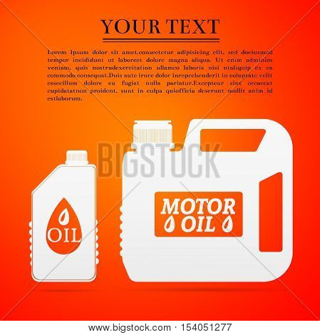 Blank plastic canister for motor oil flat icon on orange background. Vector Illustration