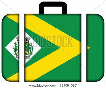 Flag Of Santa Barbara D'oeste, Sao Paulo, Brazil. Suitcase Icon, Travel And Transportation Concept