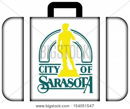 Flag Of Sarasota, Florida, Usa. Suitcase Icon, Travel And Transportation Concept