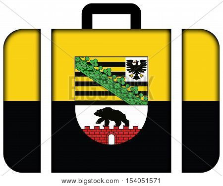 Flag Of Saxony-anhalt With Coat Of Arms, Germany. Suitcase Icon, Travel And Transportation Concept