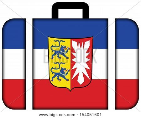 Flag Of Schleswig-holstein With Coat Of Arms, Germany. Suitcase Icon, Travel And Transportation Conc