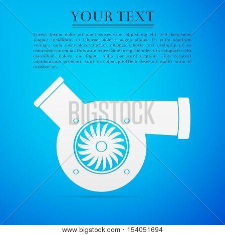 Automotive turbocharger flat icon on blue background. Vector Illustration
