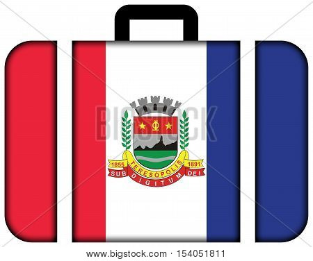 Flag Of Teresopolis, Rio De Janeiro State, Brazil. Suitcase Icon, Travel And Transportation Concept