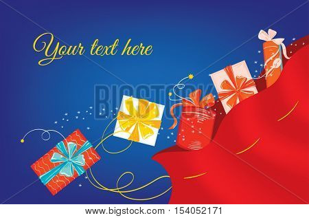 Christmas greeting card. A variety of Christmas presents coming from a red Xmas sack on a dark background with space for your text.