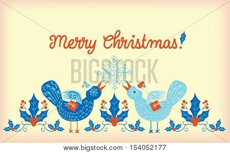 Christmas pattern with two blue Christmas partridges carrying small presents with a snowflake and some red berries in the background