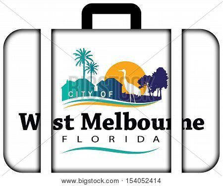 Flag Of West Melbourne, Florida, Usa. Suitcase Icon, Travel And Transportation Concept