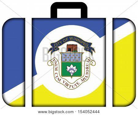 Flag Of Winnipeg, Manitoba, Canada. Suitcase Icon, Travel And Transportation Concept
