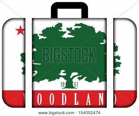 Flag Of Woodland, California, Usa. Suitcase Icon, Travel And Transportation Concept