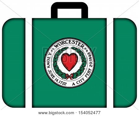 Flag Of Worcester, Massachusetts, Usa. Suitcase Icon, Travel And Transportation Concept