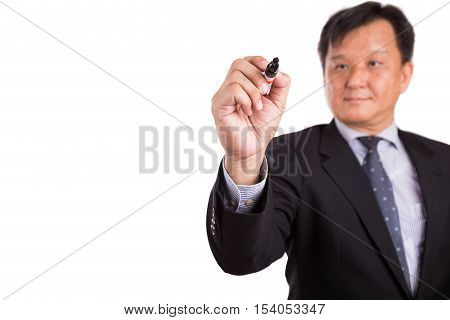 Asian Business Man In Suit Writing With Marker Pen