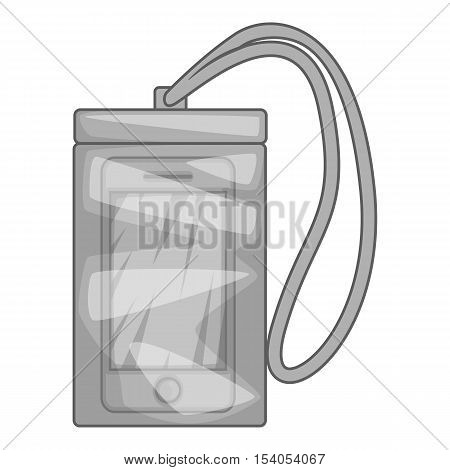 Waterproof phone case icon. Gray monochrome illustration of case vector icon for web design