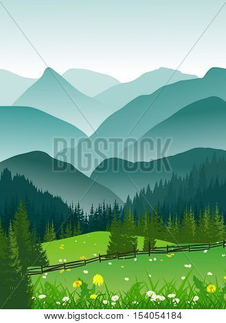 Summer landscape of foggy mountains and valley with meadow flowers. Vertical vector illustration.
