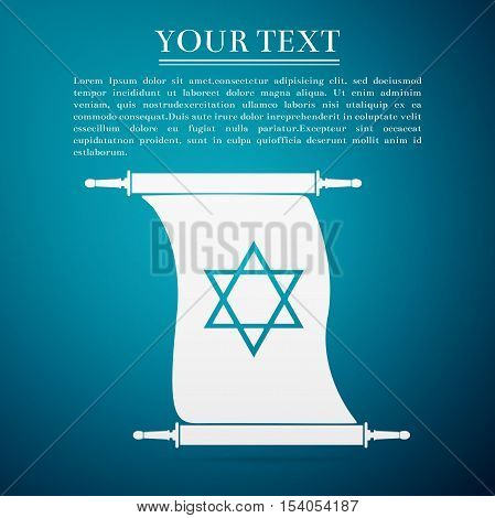 Star of David on scroll flat icon over blue background. Vector Illustration