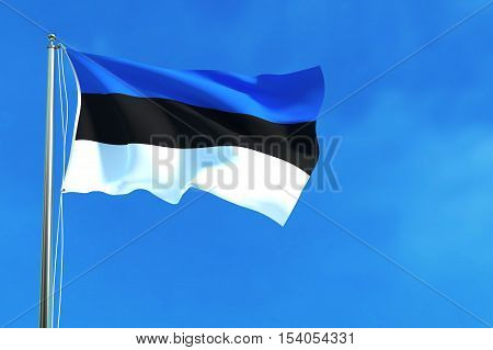 Flag of Estonia on the blue sky background. 3D illustration