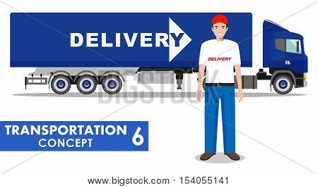 Detailed illustration of delivery truck and driver on white background in flat style.