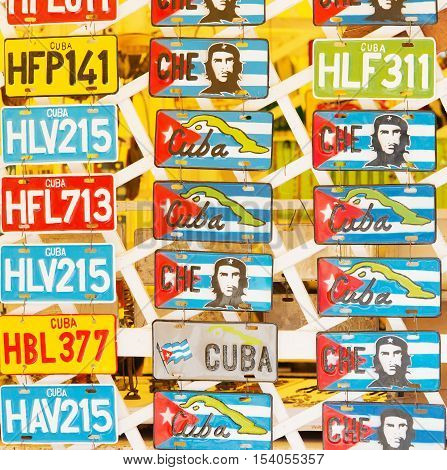 Varadero, Cuba - September 08, 2016:  Coloured number plates from Cuba, Varadero as a memory