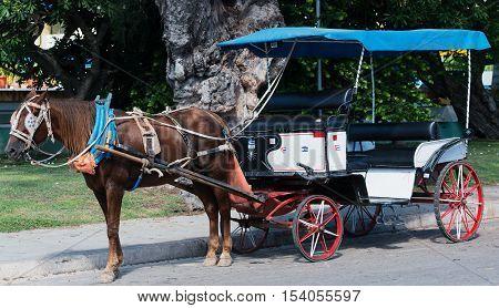 Varadero, Cuba - September 11, 2016:  Horse-drawn carriage in Varadero Cuba