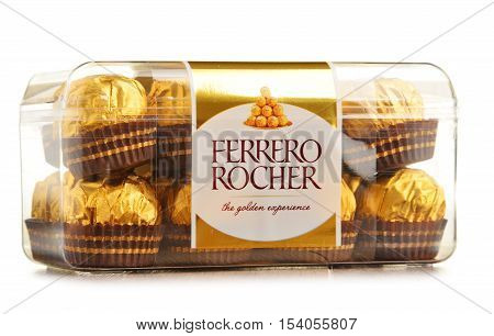 POZNAN POLAND - OCT 13 2016: Ferrero Rocher premium chocolate sweets produced by the Italian chocolatier Ferrero SpA. are sold in over 40 countries in amount of about 3.6 billion a year