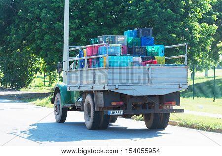 Varadero, Cuba - September 06, 2016:  Truck in Varadero Cuba
