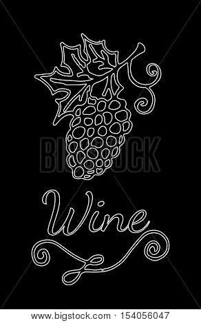 Template white line wine emblem with garden-stuffs and leaves of vine. For banners labels badges prints posters web.