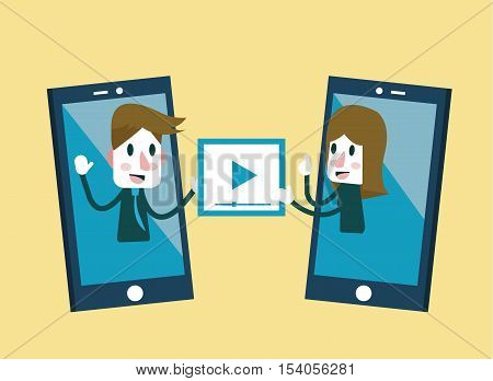 Man and woman sending and share video on smartphone. flat character design. vector illustration