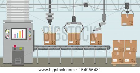 Robot working with conveyor belt. vector illustration