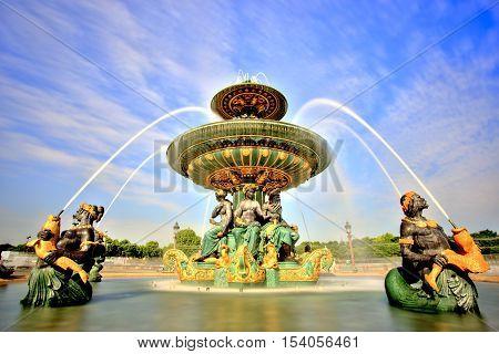 Fountain on Place de la Concorde, Paris, France