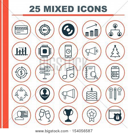 Set Of 25 Universal Editable Icons. Can Be Used For Web, Mobile And App Design. Includes Icons Such