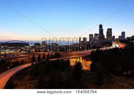 Seattle Cityscape at Dust, Washington, United States