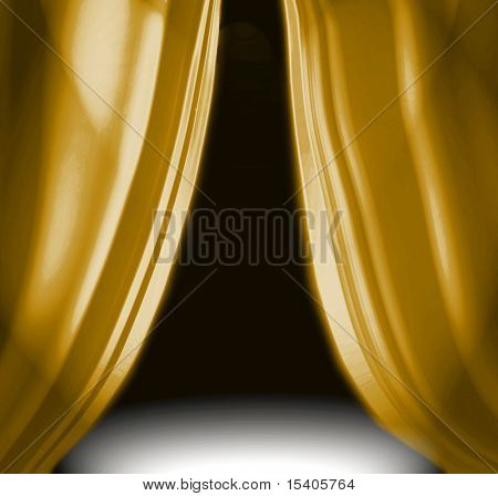 Gold drapery on empty theatre stage