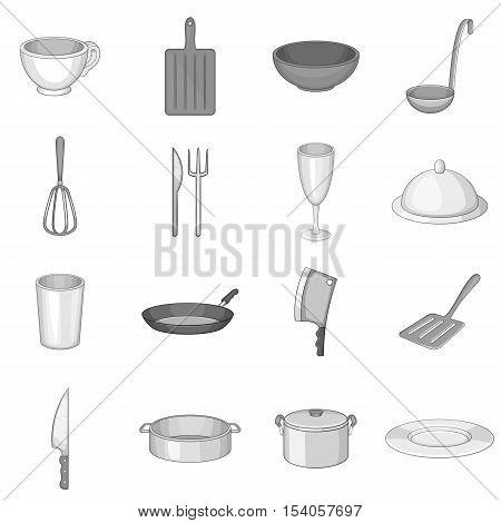 Kitchen utensil icons set. Gray monochrome illustration of 16 kitchen utensil vector icons for web
