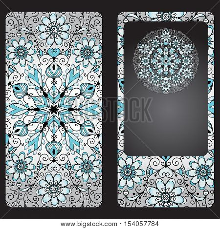 Silvery cover for a mobile phone in vintage style with a circular pattern on a black background vector