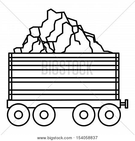 Coal trolley icon. Outline illustration of coal trolley vector icon for web