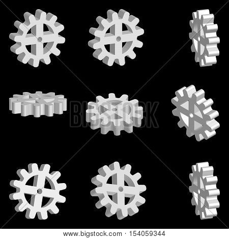 set of gear wheels 3D gear machines in different projections vector
