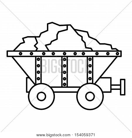 Small coal trolley icon. Outline illustration of small coal trolley vector icon for web