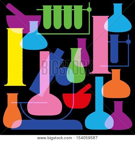School and education icon - beaker.  Black  background, colorful vector Illustration.