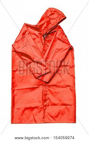 raincoat isolated on white background, red raincoat