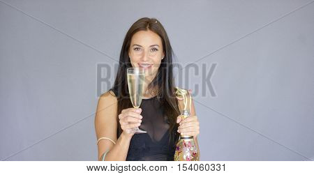 Vivacious woman partying at New Year