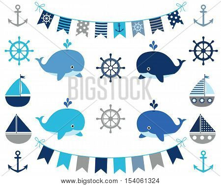 Nautical set for boys in blue and grey - whale, boat,  bunting, anchor, wheel