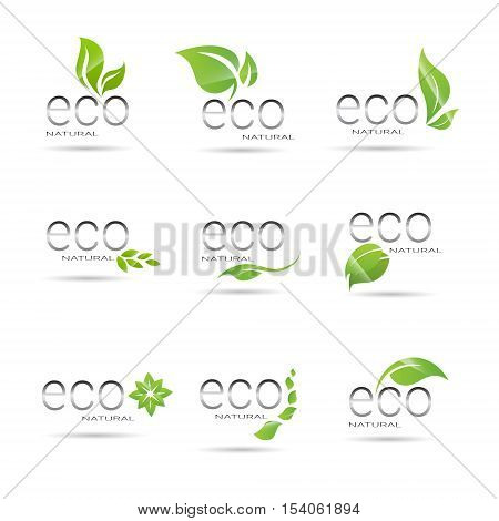 Eco Friendly Organic Natural Product Web Icon Set Green Logo Flat Vector Illustration
