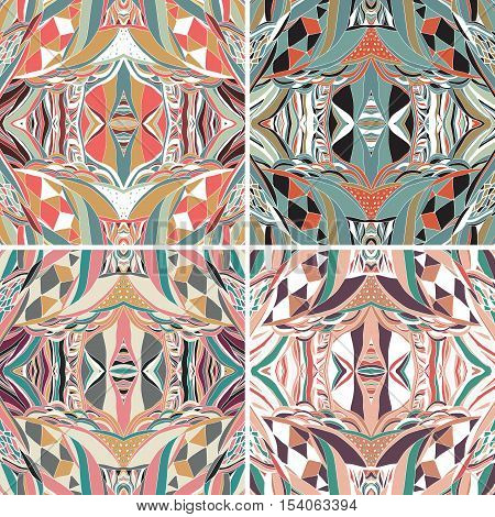Set of traditional ornamental paisley bandanna. Hand drawn background with artistic pattern. Bright colors. Seamless pattern can be used for fills background