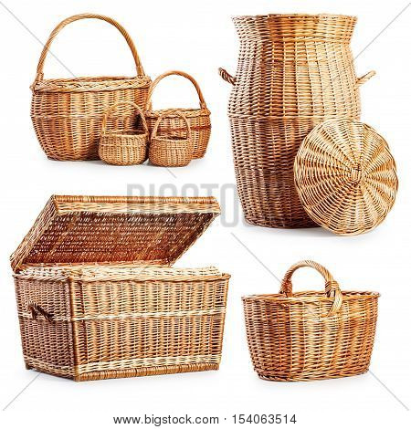 Wicker basket and laundry box collection isolated on white background