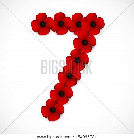 a red and black number seven in poppies