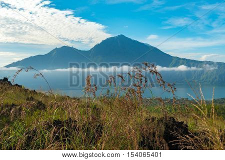 View of Agung mountain and Batur lake in Bali, Indonesia