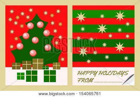Christmas golden green red decorative motives on congratulations card with space for the donor's name