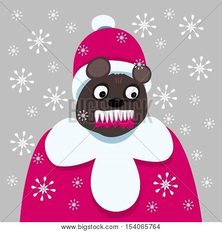 Bloodthirsty dark brown bear dressed in a coat and hat of Santa, in a blizzard, teeth bared, mouth with blood.