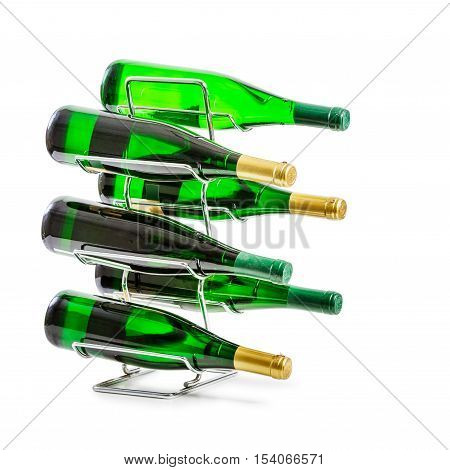 Wine rack with green bottles isolated on white background clipping path included