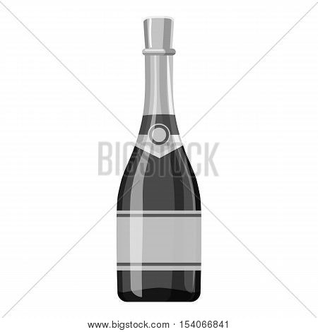Champagne bottle icon. Gray monochrome illustration of champagne bottle vector icon for web